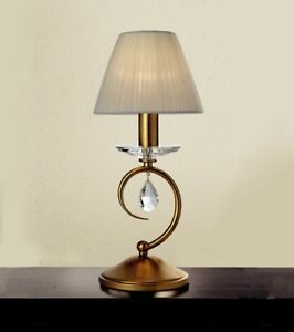 Bedside Lamp Lumetto Classic With Crystal Clear Gold