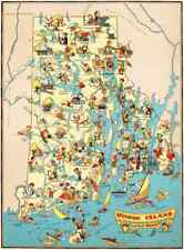 Canvas Reproduction, Pictorial Map of Rhode Island Ruth Taylor 1935