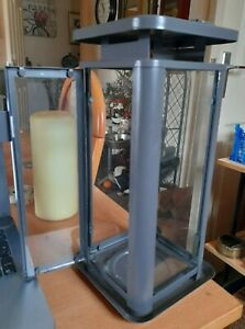 BN Ikea Metal & Glass Hanging or Tabletop Lantern / Candle Holder 35cms SINNESRO