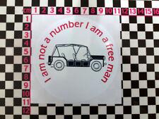 I am not a number I am a free man - Prisoner Vinyl Sticker for Mini Moke