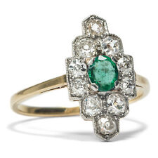 Antique Emerald Ring from 750 Gold & Platinum with Diamonds, Diamond Engagement