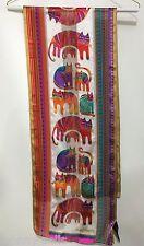 Laurel Burch Multi-Color Cats Felines Long Silk Scarf Beaded 11 x 54 Sun N Sand