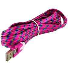 2X Hot Pink Braided Micro USB Noodle Data Cable 10FT For Samsung Galaxy S4 S3