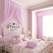 Removable Vinyl Wall Stickers Girls Fairy Tale Princess Bedroom Pink Decals