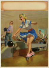 Large Art Frahm 1958 Pin-Up Print Cheesecake Embarrassment Series Bowling Spare?