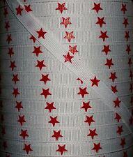 "5 YARD 3/8"" RED STAR PRINT GROSGRAIN RIBBON 4 HAIRBOWS BOWS KORKERS"