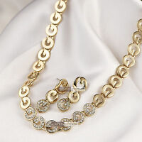 18k yellow gold gf made with SWAROVSKI crystal wedding earrings necklace set