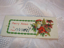 vintage Santa with Star Christmas gift tag Merry Xmas Embossed