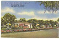 Van Dyke Motor Court WinterHaven Florida linen postcard