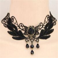 Schwarze Rose Teardrop Perle Anhänger Spitze Choker Lolita Halskette 1A ST