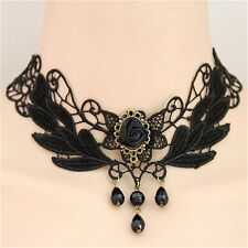 Lace Choker Lolita Collar Necklace Tb Women's Black Rose Teardrop Bead Pendant