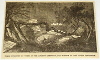 1881 magazine engraving ~ TOMBS UPROOTED BY TREES ~ Prague, Czech Republic