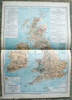 Original 1884 Physical & Economic Map of The British Isles by Drioux & Leroy