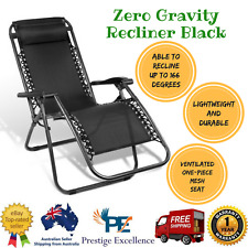 New Zero Gravity Recliner Foldable Reclining Outdoor Camping or Beach Seat Black