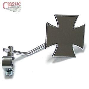 Lambretta Vespa Cutdown Custom Chrome Clamp On Maltese Cross Mirror