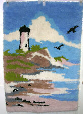 """Lighthouse Latch Hook Rug Vtg Wall Hanging Finished Beach House Decor 37"""" x 26"""""""