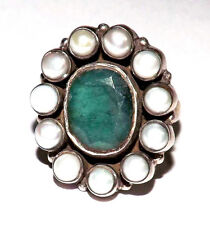 100% Natural Emerald Gemstone & Pearls Handmade 925 Silver Ring #rmc3