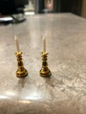 Dollhouse Miniature gold candlesticks with candles