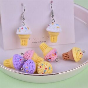 10pcs 3D Ice Cream Resin Charms Cute Food DIY Craft for Earring Jewelry Making