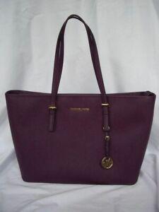 Michael Kors Purple/Maroon/Merlot Large Zippered Tote Bag