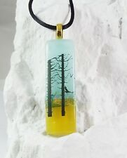 Handmade Crafted Art Scenic Summer Forest Dichroic Fused Glass Stick Pendant