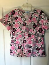 SB Scrubs S Breast Cancer Awareness Pink Black Gray Polka Dots Scrub Top Small