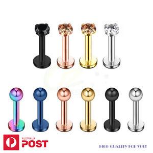 4-10x Labret Lip Rings Tragus Helix Earrings Stud Steel Body Piercing Jewellery