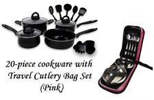 Keimav 20-piece Cookware with Nylon Utensil w/ Travel Cutlery Set (pink)
