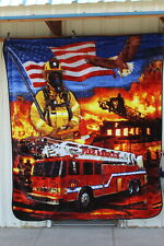 FIREFIGHTER FIREMAN FIRE RESCUE USA AMERICAN FLAG EAGLE FD QUEEN SIZE BLANKET