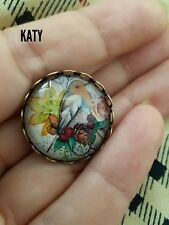 Vintage Style Red Robin Birds Round Small  Brooch Pins Glass Cabochon Broach