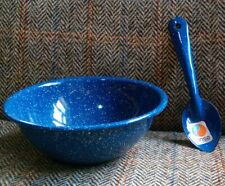 vintage enamel ware spoon and bowl set blue speckled retro splatterware camping