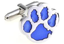 Tiger Paw Cufflinks Silver Blue Clemson Wedding Fancy Gift Box Free Ship USA