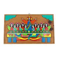 Vtg Handmade Colorful Folk Art Last Supper Religious Wood Plaque Decor Jesus