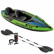 Intex K2 Challenger Kayak Two Man Person Inflatable Canoe Boat Inc Oars and Pump