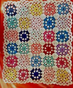 hand made crochet baby blanket, car seat/pram blanket,  multi  rainbow colour
