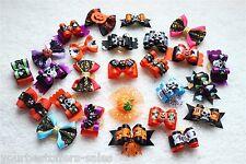 Pet Hair Bows Halloween Dog Costumes 10 Pairs Handmade Dog Hair Bows Clip New