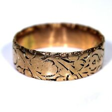 Pretty 1905 Engraved Pie Crust 9ct Rose Gold Wide Wedding Band Ring Q ~ 8 1/4