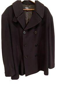Vintage POLO RALPH LAUREN 100% CASHMERE Pea coat Peacoat USA L Military Italy