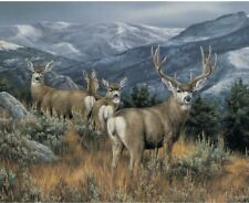 NEW LARGE MAGNIFICENT DEER FAMILY PANEL FOR QUILTS HOME DECOR & OTHER PROJECT #5