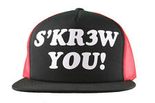 Kr3w Krew Black Red S'Kr3w You! FU Leather Strapback Trucker Baseball Hat NWT