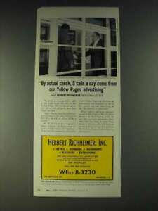1958 Yellow Pages Ad - By actual check, 5 calls a day come from