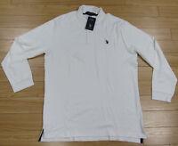NWT US Polo Assn Luxury Feel Polo Shirt White Long Sleeve Mens L 2 Button New