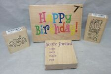 4x rubber stamps. Birthday greetings