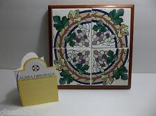 "Vintage Art Tile Mural TRIVET GRAPES 9.5"" Mahogany Wood Frame Aleka Originals"