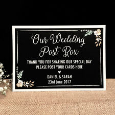 Personalised Floral Chalkboard Style Wedding/Engagement POST BOX Card Sign A5