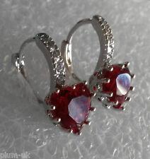 FH Plum UK red tourmaline hearts sim diamonds 18k white gold gf earrings BOXED