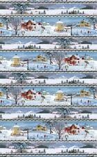 WINTER'S EVE CHRISTMAS VILLAGE SCENIC ICESKATING SNOWMEN STRIPE FABRIC NO. 12