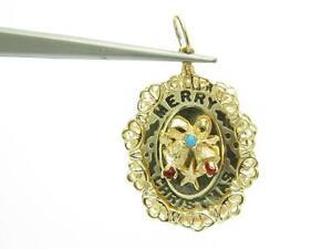14k Yellow Gold Merry Christmas Design Vintage Estate Charm Pendant 6.1 Grams