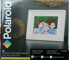 "Polaroid 8"" Digital Picture Frame Ivory Wood Tone ~ NEW PDF-800IW"