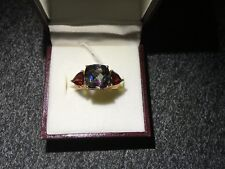 ORNATE LADIES 9CT YELLOW GOLD TOPAZ AND GARNETS DRESS RING SIZE N1/2 NEW